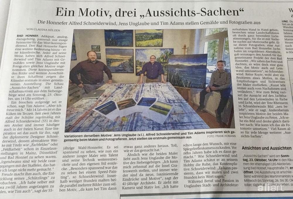 Gemälde und Fotografien: Aussichts-Sachen Zeitungsartikel